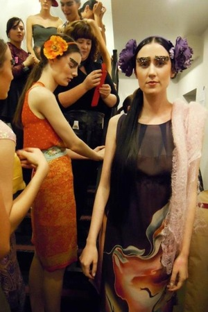 Backstage at Cork Fashion Week. Chief artist and look designed by Kate Noonan