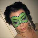 Halloween series : Green Masquerade Ball mask make-up