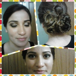 Fishtail updo with knots, and full face makeup with neutral smokey eye