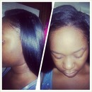 my.lil sister rocking her long Brazilian hair done by me