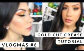 Vlogmas #6 Gold Cut Crease Eye Shadow Tutorial