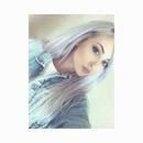 Lilac-ish grey hair.