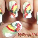 Strawberries on Rainbows and Clouds Nail Art