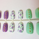 Studded Floral Print Press On Nails