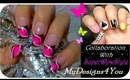 COLLABORATION WITH SuperWowStyle ABSTRACT MONOCHROME PINK NAIL ART,