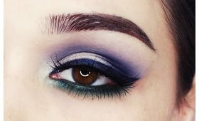 Colorful eye makeup | navy & green