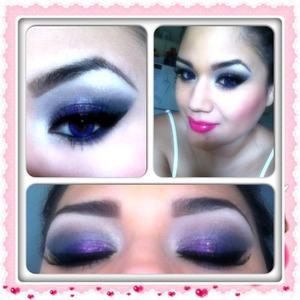 Glitter splashed on top of purple shadow