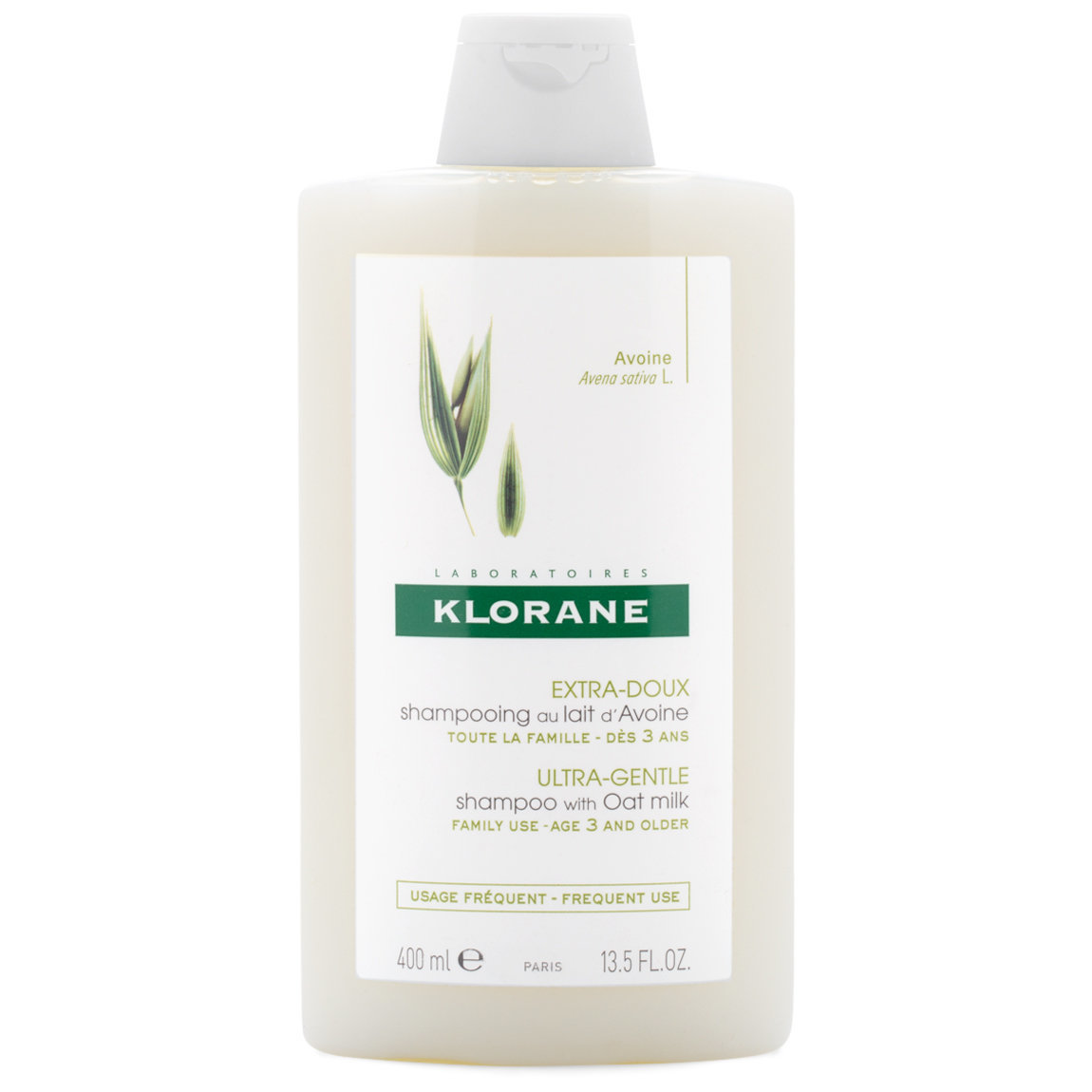 Klorane Shampoo with Oat Milk 13.5 oz product smear.