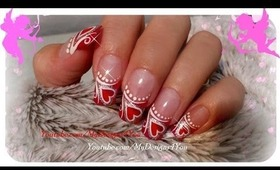 VALENTINE'S DAY FRENCH NAIL ART, HEARTS, TUTORIAL - ♥ MyDesigns4You ♥