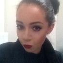 Red Lip High Bun Classy Black