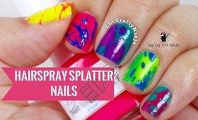 Hairspray Splatter Paint Nails by The Crafty Ninja