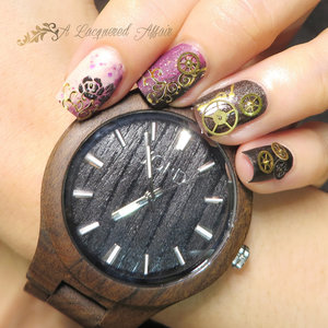 Floral cogs nail art inspired by/ to complement JORD wood watch. More details and photos on http://www.alacqueredaffair.com/Jord-Wood-Watch-Floral-Cogs-Mani-38551780