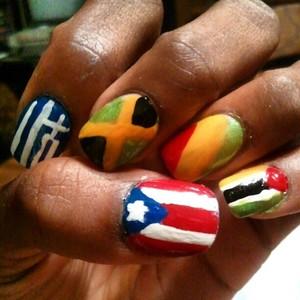 Flags of Puerto Rico, Greece, Jamaica, Congo, and Mozambique