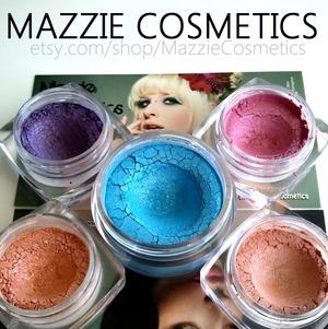 Handmade cosmetics, vegan friendly, gorgeous popping colors! REVIEW: http://www.beautybykrystal.com/2013/05/mazzie-cosmetics-handmade-vegan.html MAZZIE COSMETICS: http://www.etsy.com/shop/MazzieCosmetics