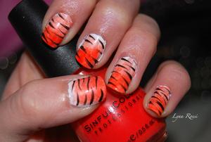 My attempt at cutepolishx's tiger nails.