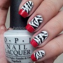 Zebra Print and red french tips