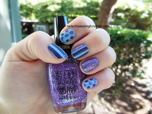 periwinkle blue, purple, and purple glitter mattified!