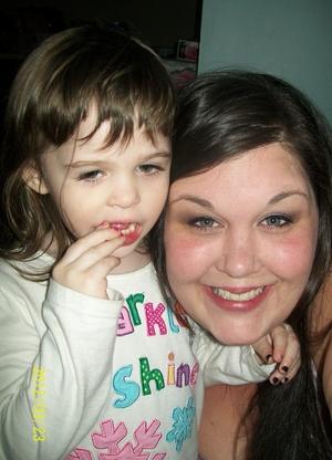 My daughter, Ella & I (mid snack, lol)