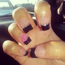 Black French & Hot Pink 3D Bow