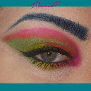 Electronic Lullaby!  Once you drip your hands in to the Urban Decay Electric Palette,  you never know what you'll end up with!  I wish I could wear colored brows everyday, they just add so much to a look. :) #Urandecay #eletricpalette #bright #neon #fun #eyelook #pink #green #orange #coloredbrows #makeup #makeuplook #Beautyshot #beautyproducts #beauty #instamakeup #instabeauty #kroze17