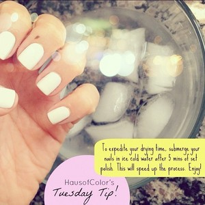 How to expedite your nail drying time. Check out the full post: http://www.hausofcolorblog.com/2012/09/tuesday-tip.html