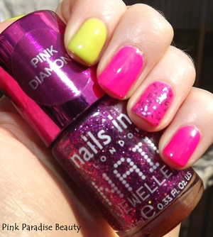Barry M - Acid Yellow Nails Inc - Princes Arcade Essie - Flirty Fushia