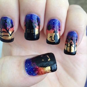 Spooky gradient halloween nails
