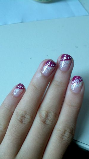 pink lace nail art!