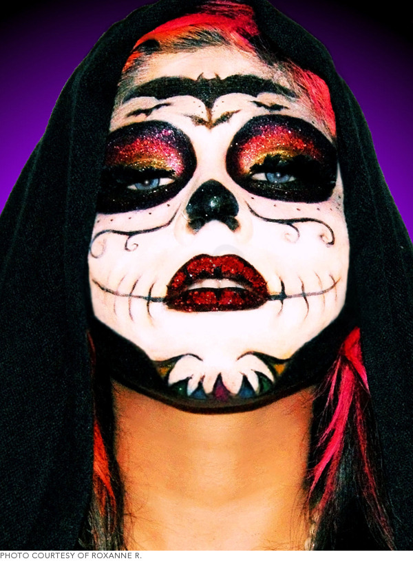 Sugar Skull Makeup with Glitter