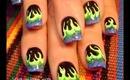 glow neon yellow green & blue flames design: robin moses nail art tutorial