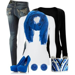 Blue white an black