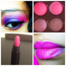 Purple and pink eye shadow with pink lips