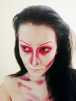 Testing this look for my mum, her request was to still look feminine but wanted to still look scary/creepy.  Have some thing I want to change - This has a slight lighting filter, really makes the white/red pop.  Used:  - Mehron Paradise (red, white) - NYX Red lip liner (for the eye liner) - Annabelle matte shadow (black for contour)