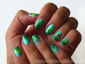 Inspired by summer vacay :)) How to / tutorial is available on my blog: http://www.maryammaquillage.com/2012/08/aquatic-ombre-nail-art.html