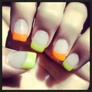 Orange and green nails