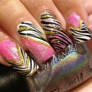 Holographic Pink & Gold Zebra