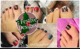 5 Festive Toenail Art Design Ideas | Christmas Pedicure Compilation ♥