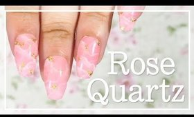 Rose Quartz with Gold nail art