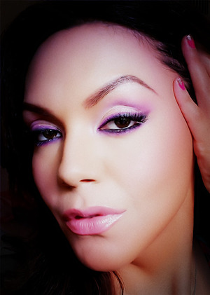 Plum Purples Eyeliner and Eyeshadows, and Nude Pink on Lips.
