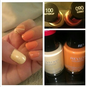 """Colorful manicure: Thumb: Revlon Colorstay """"buttercup"""" w/ Essie LuxeEffects """"as gold as it gets"""" Index: Revlon Colorstay """"buttercup"""" & """"sorbet"""" water marble Others: Revlon Colorstay """"sorbet"""""""