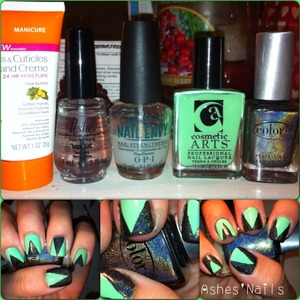 Loving my new polishes! This jade color by cosmetic arts is great and I've been lemmening after this color club Beyond after Revvvolution was hard to find! Not my fave mani but not the worse either. Lol. Do love the combo!