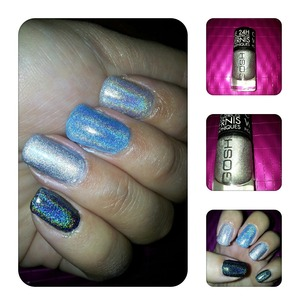 Holographic hero gosh ring finger nail  And other holo polishes