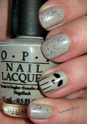OPI Skull and Glossbones, China Glaze Make A Spectacle, Wet N Wild Ebony Hates Chris, and black nail art striper