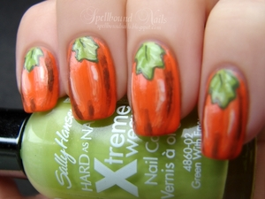 I decided to forego the usual Jack-O'-Lantern nails and just do the pumpkins. :) http://spellboundnails.blogspot.com/2012/10/nail-aween-witches-pumpkins.html
