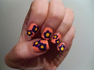 "flower power ""hand painted"" with bobby pins!"