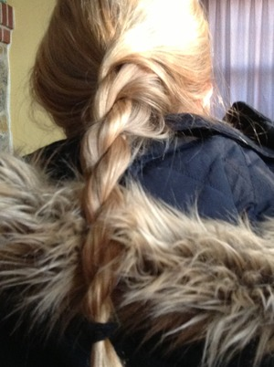 This is easy to make if you know how to do a fish tale braid like me .