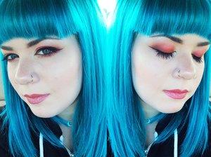 """Eyeshadow is Lime Crime Venus Palette. Hair is Arctic Fox Hair Color in """"Aquamarine""""."""