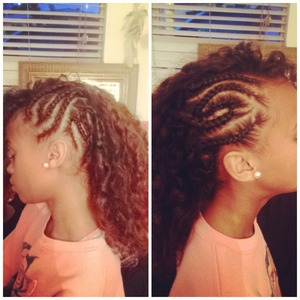 Braids into a mowhawk left and right side