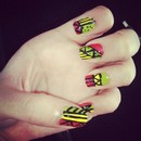Jamaican colors tribal nails