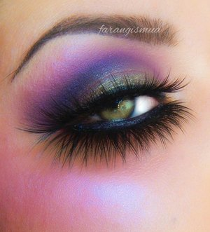Purple tones are mostly used and silver tones on the center of my lid. I used all motives cosmetics to create this look. lashes are eldora lashes